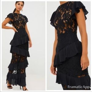 Black Lace Detail Maxi Dress With Ruffle Skirt